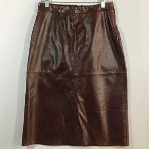 GAP Leather Skirt Brown